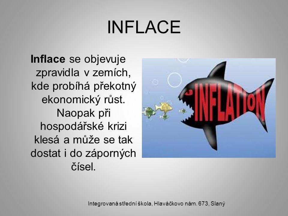INFLACE Inflace se objevuje zpravidla v zemích, kde probíhá překotný ekonomický růst. Naopak při hospodářské krizi klesá a může se tak dostat i do záp