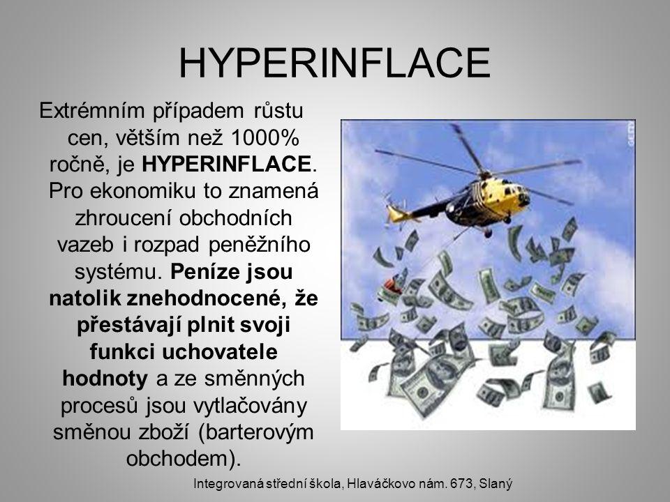 HYPERINFLACE Extrémním případem růstu cen, větším než 1000% ročně, je HYPERINFLACE. Pro ekonomiku to znamená zhroucení obchodních vazeb i rozpad peněž
