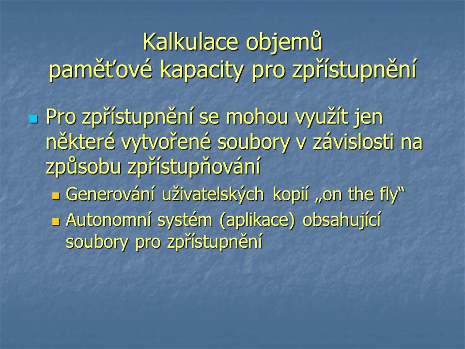 """Kalkulace objemů paměťové kapacity pro zpřístupnění Pro zpřístupnění se mohou využít jen některé vytvořené soubory v závislosti na způsobu zpřístupňování Pro zpřístupnění se mohou využít jen některé vytvořené soubory v závislosti na způsobu zpřístupňování Generování uživatelských kopií """"on the fly Generování uživatelských kopií """"on the fly Autonomní systém (aplikace) obsahující soubory pro zpřístupnění Autonomní systém (aplikace) obsahující soubory pro zpřístupnění"""