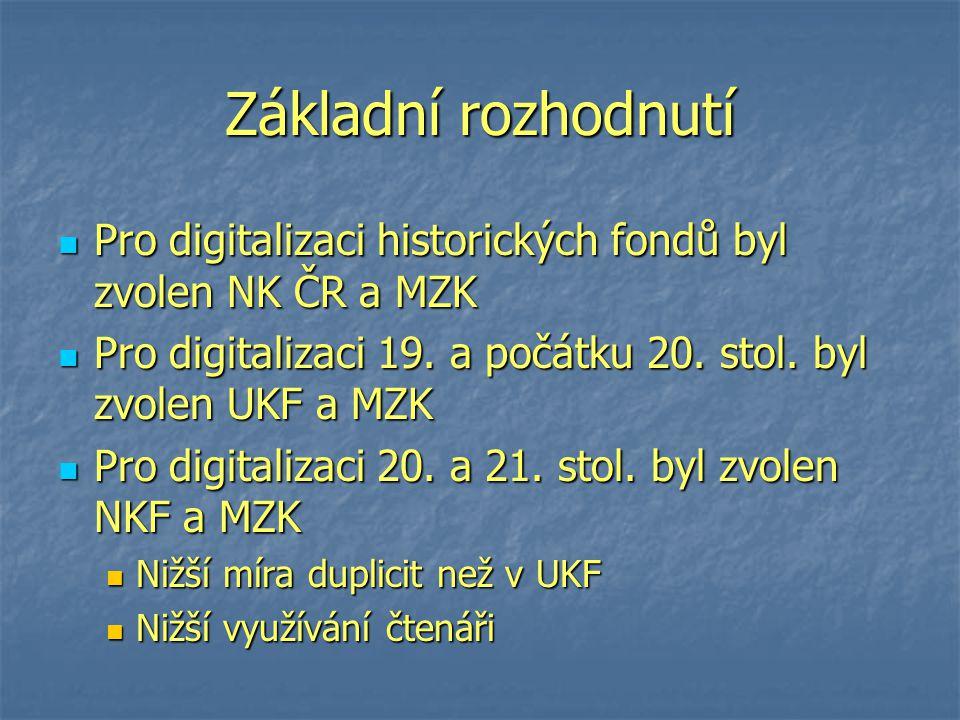 Základní rozhodnutí Pro digitalizaci historických fondů byl zvolen NK ČR a MZK Pro digitalizaci historických fondů byl zvolen NK ČR a MZK Pro digitalizaci 19.