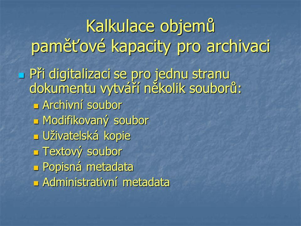 Kalkulace objemů paměťové kapacity pro archivaci Při digitalizaci se pro jednu stranu dokumentu vytváří několik souborů: Při digitalizaci se pro jednu stranu dokumentu vytváří několik souborů: Archivní soubor Archivní soubor Modifikovaný soubor Modifikovaný soubor Uživatelská kopie Uživatelská kopie Textový soubor Textový soubor Popisná metadata Popisná metadata Administrativní metadata Administrativní metadata