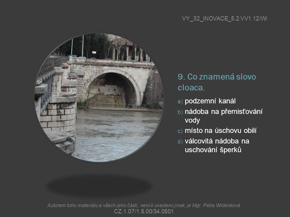 9. Co znamená slovo cloaca. a) podzemní kanál b) nádoba na přemisťování vody c) místo na úschovu obilí d) válcovitá nádoba na uschování šperků VY_32_I
