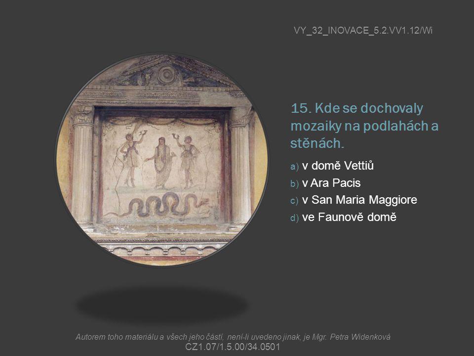 15. Kde se dochovaly mozaiky na podlahách a stěnách. a) v domě Vettiů b) v Ara Pacis c) v San Maria Maggiore d) ve Faunově domě VY_32_INOVACE_5.2.VV1.