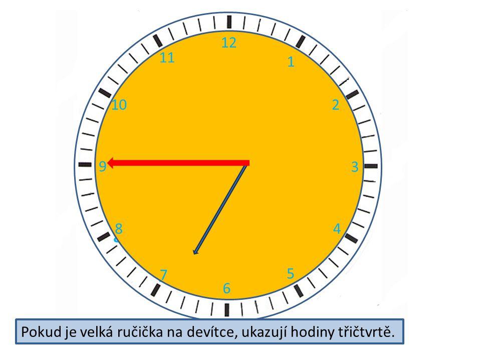 2 3 4 5 6 7 8 9 11 12 10 12 1 2 3 4 5 6 7 8 9 10 11 Pokud je velká ručička na devítce, ukazují hodiny třičtvrtě.