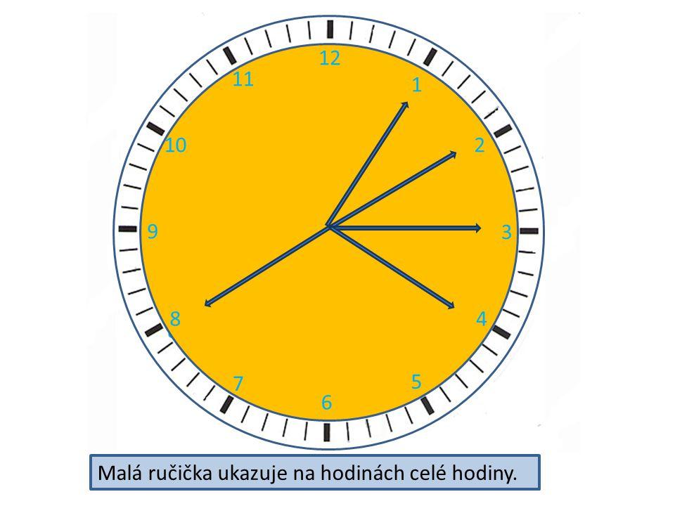 2 3 4 5 6 7 8 9 11 12 10 12 1 2 3 4 5 6 7 8 9 10 11 Malá ručička ukazuje na hodinách celé hodiny.