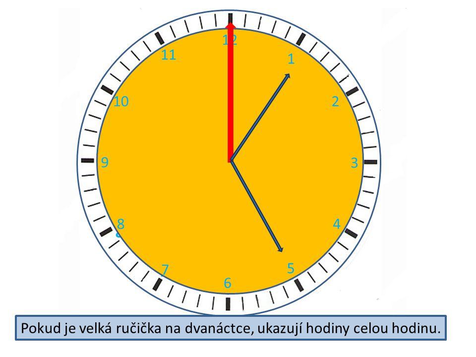 2 3 4 5 6 7 8 9 11 12 10 12 1 2 3 4 5 6 7 8 9 10 11 Pokud je velká ručička na dvanáctce, ukazují hodiny celou hodinu.