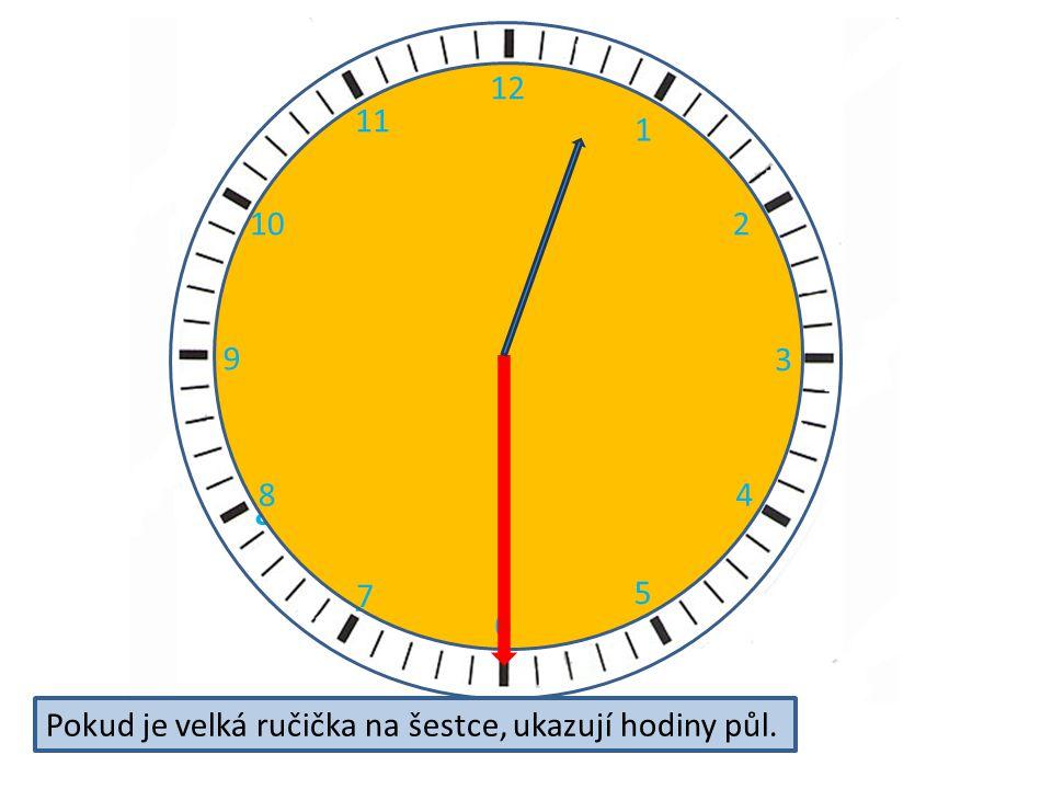 2 3 4 5 6 7 8 9 11 12 10 12 1 2 3 4 5 6 7 8 9 10 11 Pokud je velká ručička na šestce, ukazují hodiny půl.