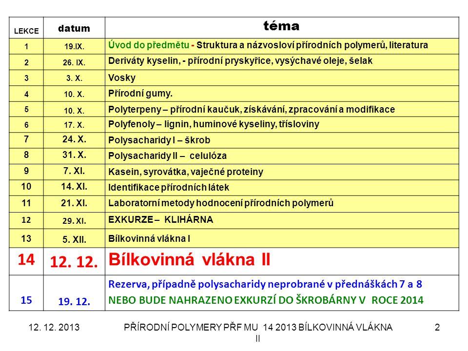 PŘÍRODNÍ POLYMERY PŘF MU 14 2013 BÍLKOVINNÁ VLÁKNA II 2 LEKCE datum téma 119.IX. Úvod do předmětu - Struktura a názvosloví přírodních polymerů, litera