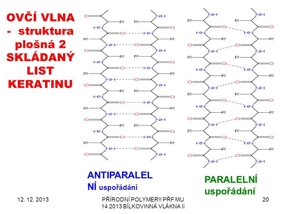 OVČÍ VLNA - struktura plošná 2 SKLÁDANÝ LIST KERATINU 12. 12. 2013PŘÍRODNÍ POLYMERY PŘF MU 14 2013 BÍLKOVINNÁ VLÁKNA II 20 ANTIPARALEL NÍ uspořádání P