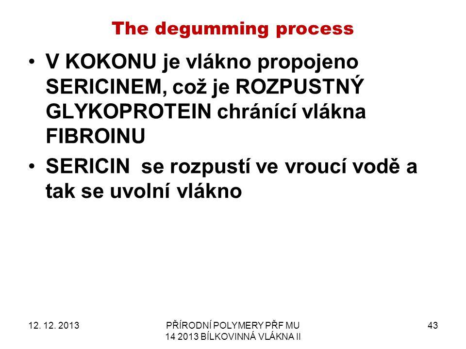 The degumming process V KOKONU je vlákno propojeno SERICINEM, což je ROZPUSTNÝ GLYKOPROTEIN chránící vlákna FIBROINU SERICIN se rozpustí ve vroucí vodě a tak se uvolní vlákno 12.