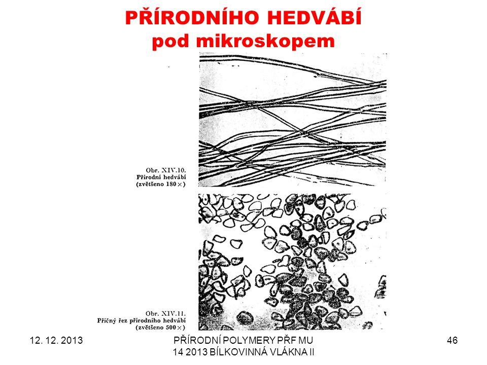 PŘÍRODNÍHO HEDVÁBÍ pod mikroskopem 12.12.