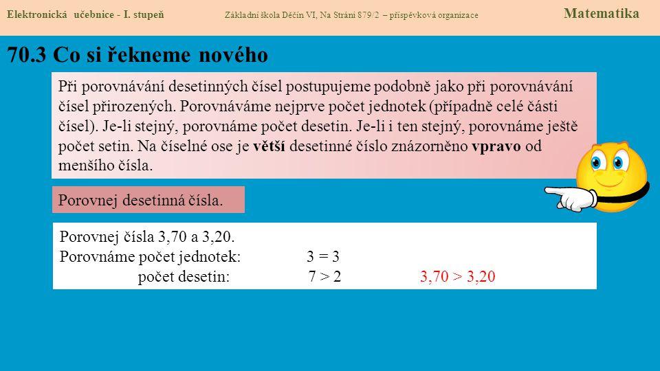 70.3 Co si řekneme nového Elektronická učebnice - I. stupeň Základní škola Děčín VI, Na Stráni 879/2 – příspěvková organizace Matematika Při porovnává