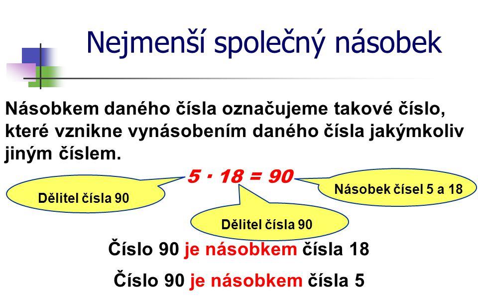 Nejmenší společný násobek Násobkem daného čísla označujeme takové číslo, které vznikne vynásobením daného čísla jakýmkoliv jiným číslem. 5 ∙ 18 = 90 Č