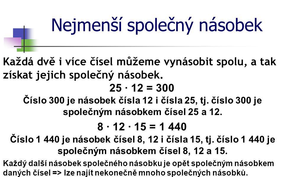 Nejmenší společný násobek Každá dvě i více čísel můžeme vynásobit spolu, a tak získat jejich společný násobek. 25 ∙ 12 = 300 Číslo 300 je násobek čísl