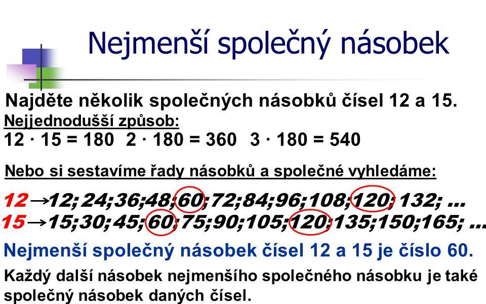 Nejmenší společný násobek Najděte několik společných násobků čísel 12 a 15. 12 Nejjednodušší způsob: 12;24;36;48;60;72;84;96;108;120;132; … 1515;30;45
