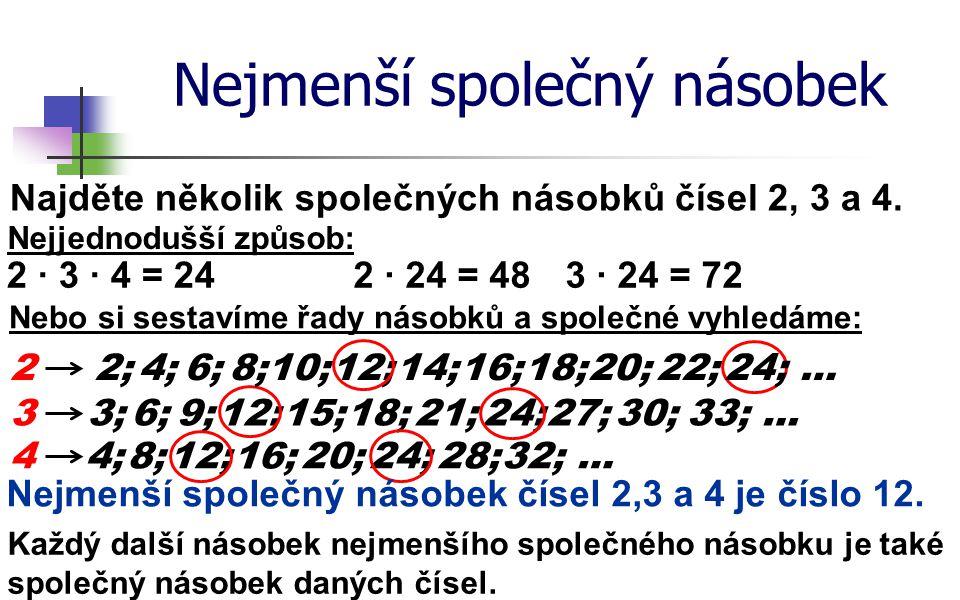 Nejmenší společný násobek Najděte několik společných násobků čísel 2, 3 a 4. 3 Nejjednodušší způsob: 3;6;9;12;15;18;21;24;27;30;33; … 44;8;12; 16; 20;