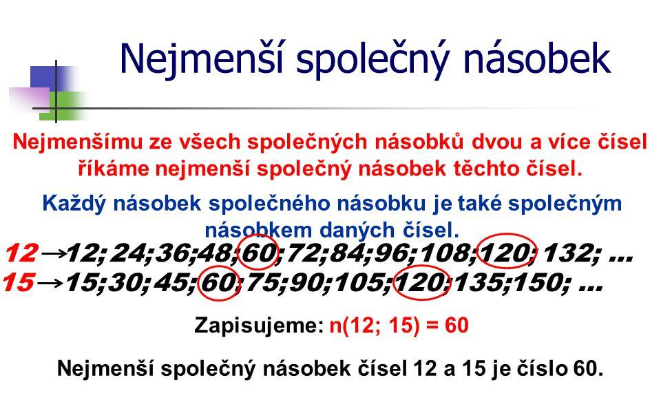 Nejmenší společný násobek Postup při hledání nejmenšího společného násobku: Určete nejmenší společný násobek čísel 60 a 42.