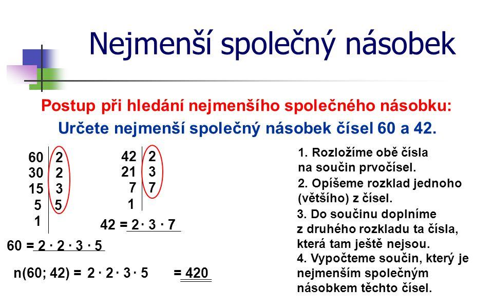 Nejmenší společný násobek Postup při hledání nejmenšího společného násobku: Určete nejmenší společný násobek čísel 60 a 42. 1. Rozložíme obě čísla na