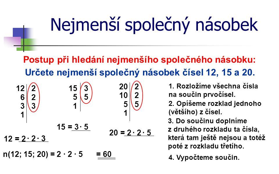 Nejmenší společný násobek Postup při hledání nejmenšího společného násobku: Určete nejmenší společný násobek čísel 12, 15 a 20. 1. Rozložíme všechna č