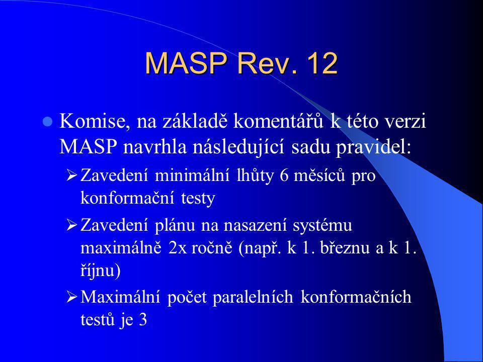 MASP Rev. 12 Komise, na základě komentářů k této verzi MASP navrhla následující sadu pravidel:  Zavedení minimální lhůty 6 měsíců pro konformační tes