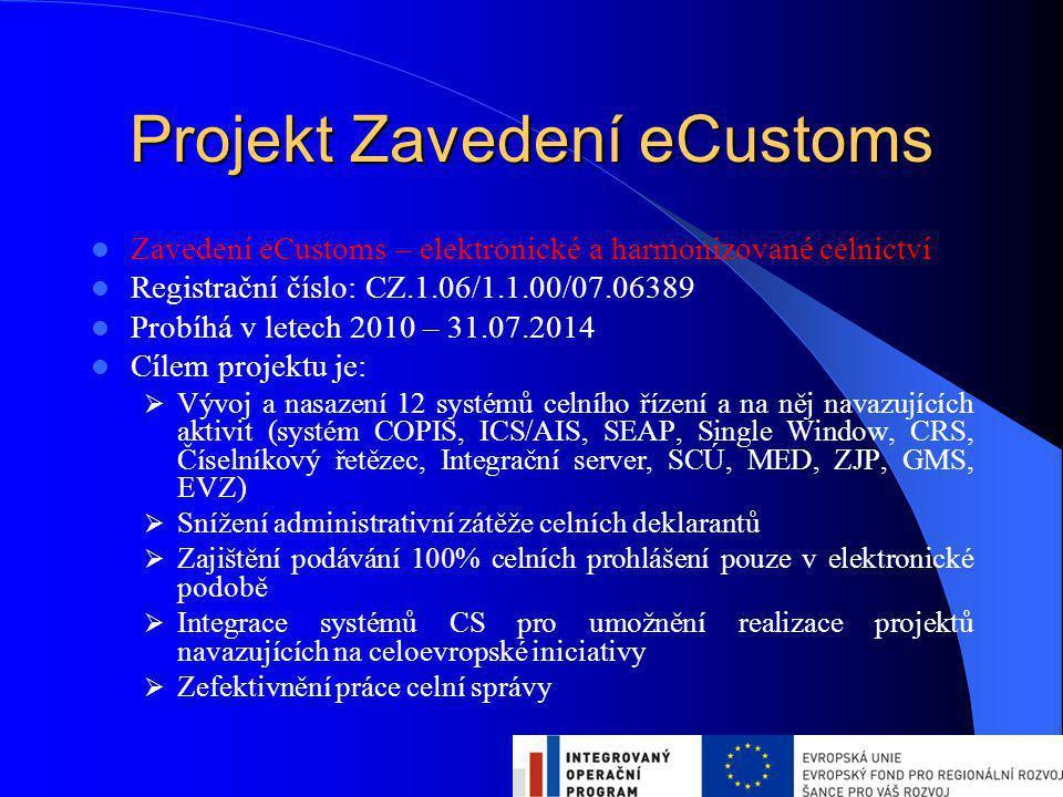 Projekt Zavedení eCustoms Zavedení eCustoms – elektronické a harmonizované celnictví Registrační číslo: CZ.1.06/1.1.00/07.06389 Probíhá v letech 2010