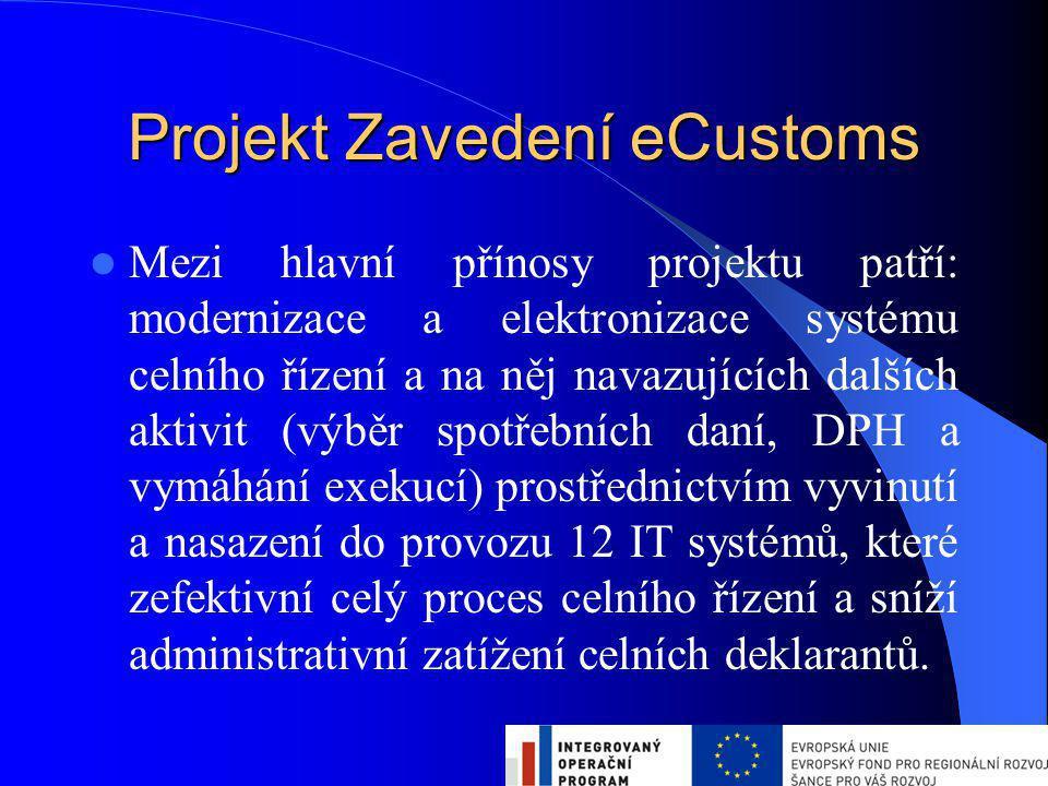 Projekt Zavedení eCustoms Mezi hlavní přínosy projektu patří: modernizace a elektronizace systému celního řízení a na něj navazujících dalších aktivit