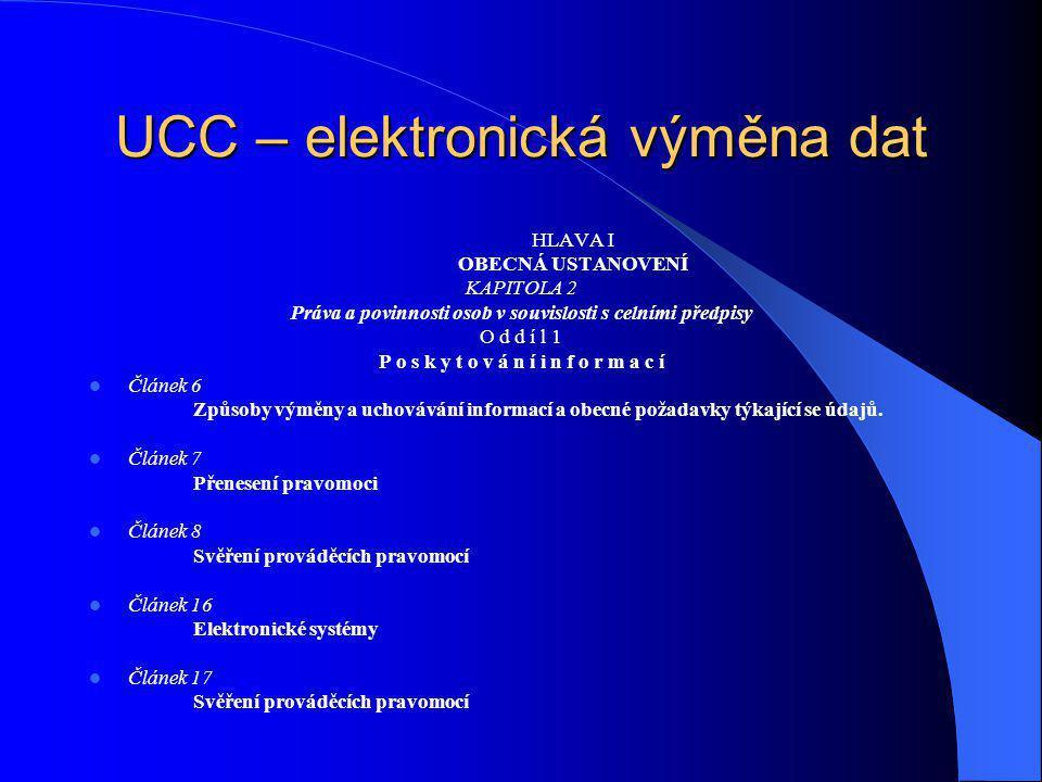 UCC – elektronická výměna dat HLAVA I OBECNÁ USTANOVENÍ KAPITOLA 2 Práva a povinnosti osob v souvislosti s celními předpisy O d d í l 1 P o s k y t o