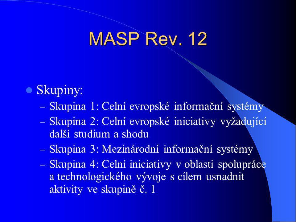 MASP Rev. 12 Skupiny: – Skupina 1: Celní evropské informační systémy – Skupina 2: Celní evropské iniciativy vyžadující další studium a shodu – Skupina