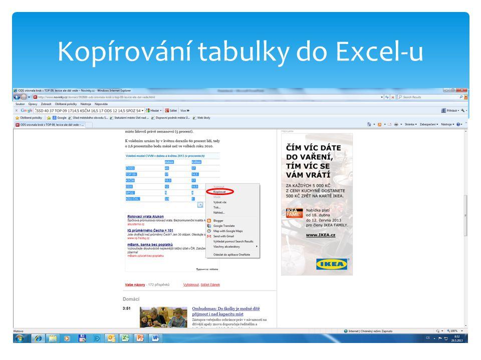 Kopírování tabulky do Excel-u