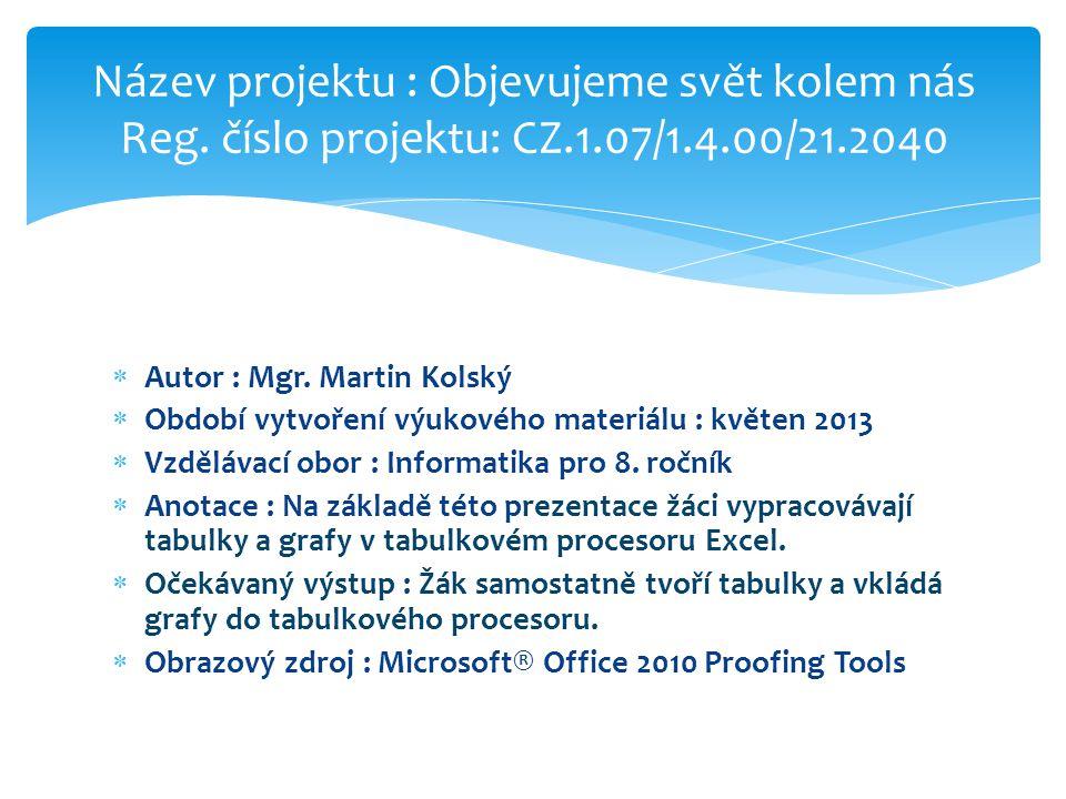  Autor : Mgr. Martin Kolský  Období vytvoření výukového materiálu : květen 2013  Vzdělávací obor : Informatika pro 8. ročník  Anotace : Na základě