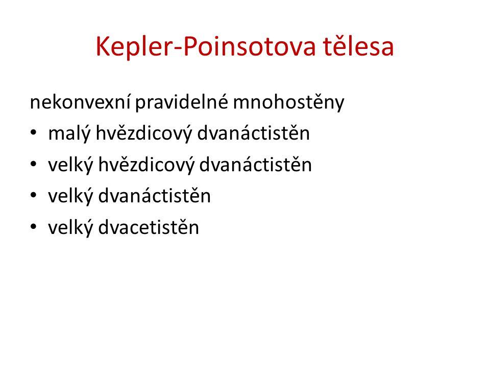 Kepler-Poinsotova tělesa nekonvexní pravidelné mnohostěny malý hvězdicový dvanáctistěn velký hvězdicový dvanáctistěn velký dvanáctistěn velký dvacetistěn