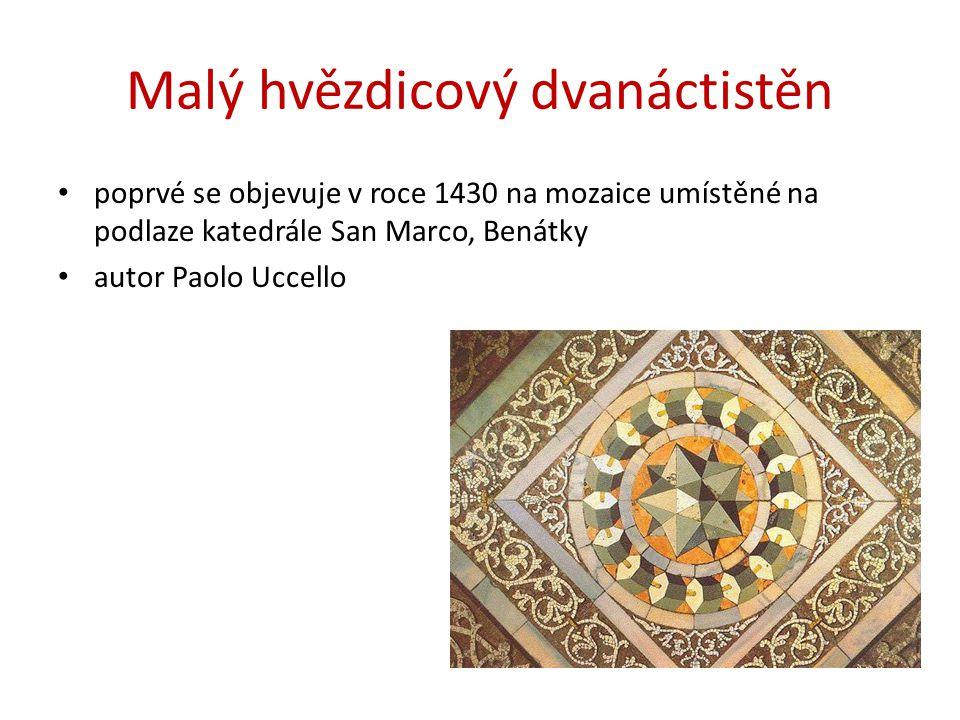 Malý hvězdicový dvanáctistěn poprvé se objevuje v roce 1430 na mozaice umístěné na podlaze katedrále San Marco, Benátky autor Paolo Uccello