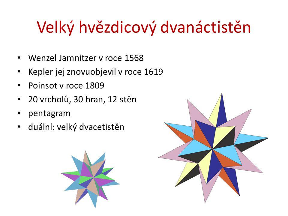 Velký hvězdicový dvanáctistěn Wenzel Jamnitzer v roce 1568 Kepler jej znovuobjevil v roce 1619 Poinsot v roce 1809 20 vrcholů, 30 hran, 12 stěn pentagram duální: velký dvacetistěn