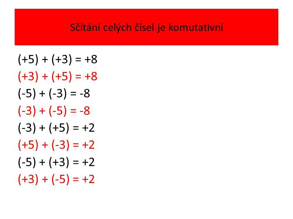 Sčítání celých čísel je komutativní (+5) + (+3) = +8 (+3) + (+5) = +8 (-5) + (-3) = -8 (-3) + (-5) = -8 (-3) + (+5) = +2 (+5) + (-3) = +2 (-5) + (+3) = +2 (+3) + (-5) = +2