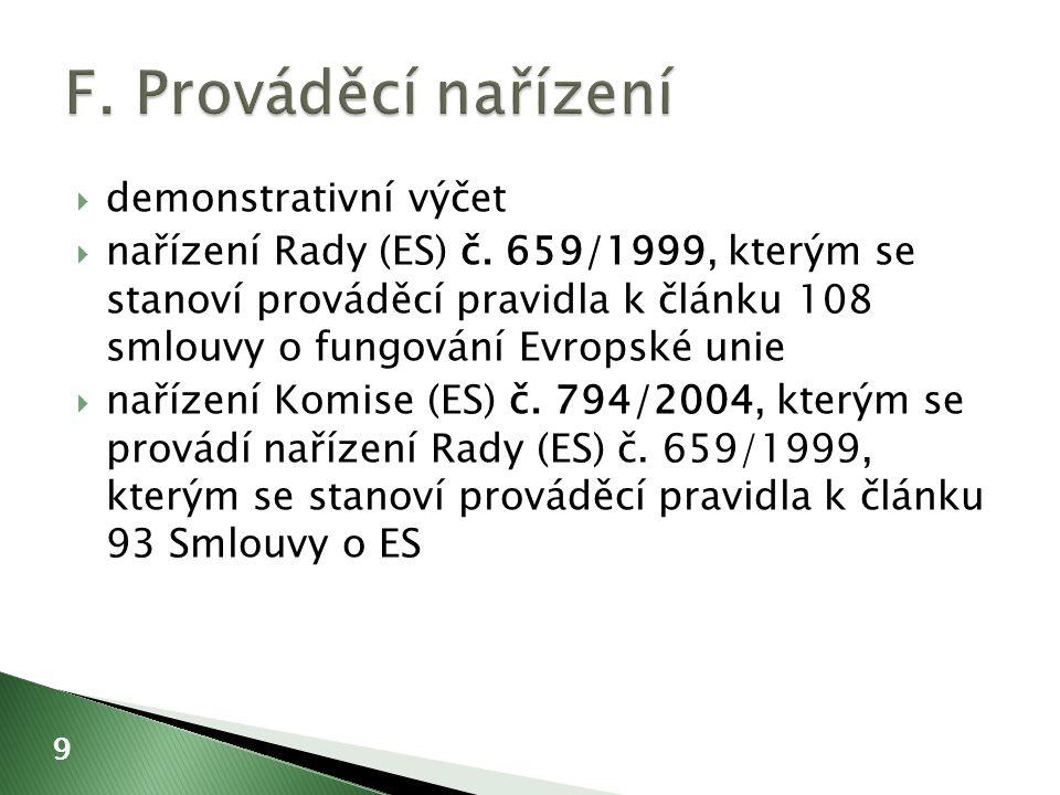  demonstrativní výčet  nařízení Rady (ES) č.