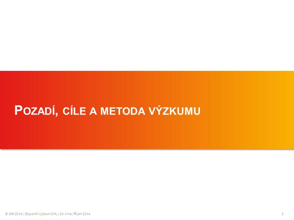 © GfK 2014 | Exportní výzkum DHL | 23. vlna | Říjen 20142 1 P OZADÍ, CÍLE A METODA VÝZKUMU