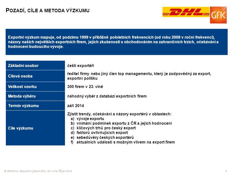 © GfK 2014 | Exportní výzkum DHL | 23. vlna | Říjen 20143 Základní souborčeští exportéři Cílová osoba ředitel firmy nebo jiný člen top managementu, kt