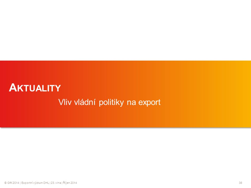 © GfK 2014 | Exportní výzkum DHL | 23. vlna | Říjen 201438 1 A KTUALITY Vliv vládní politiky na export