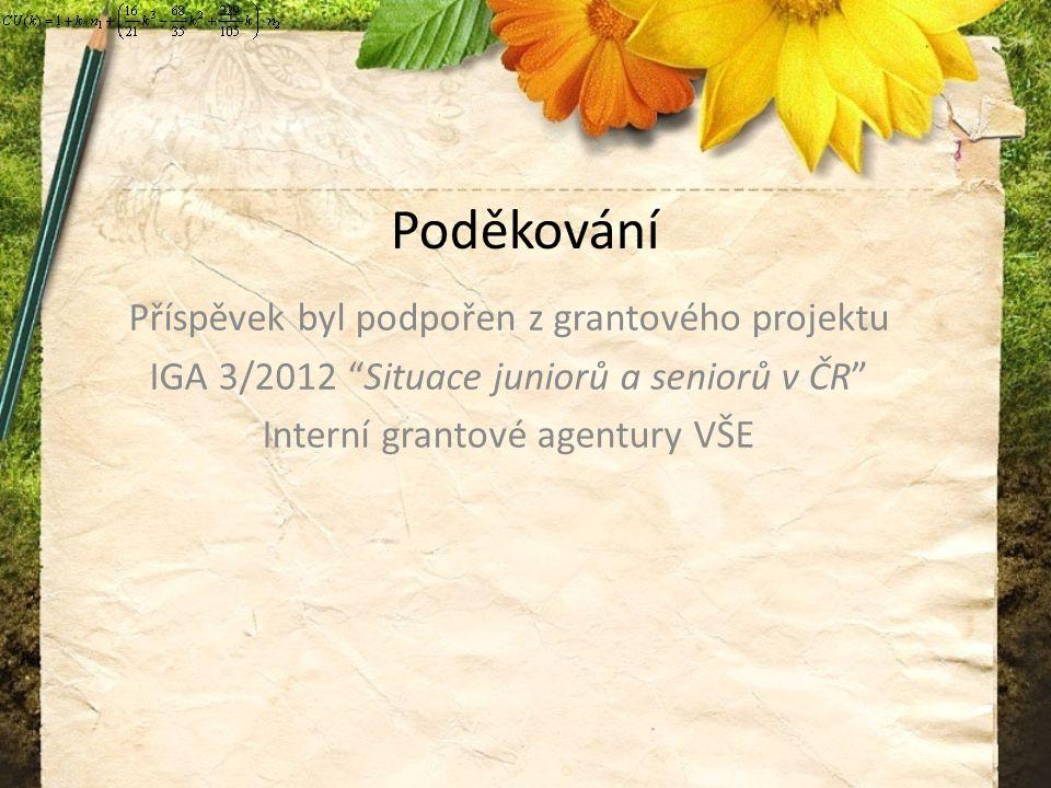 Poděkování Příspěvek byl podpořen z grantového projektu IGA 3/2012 Situace juniorů a seniorů v ČR Interní grantové agentury VŠE