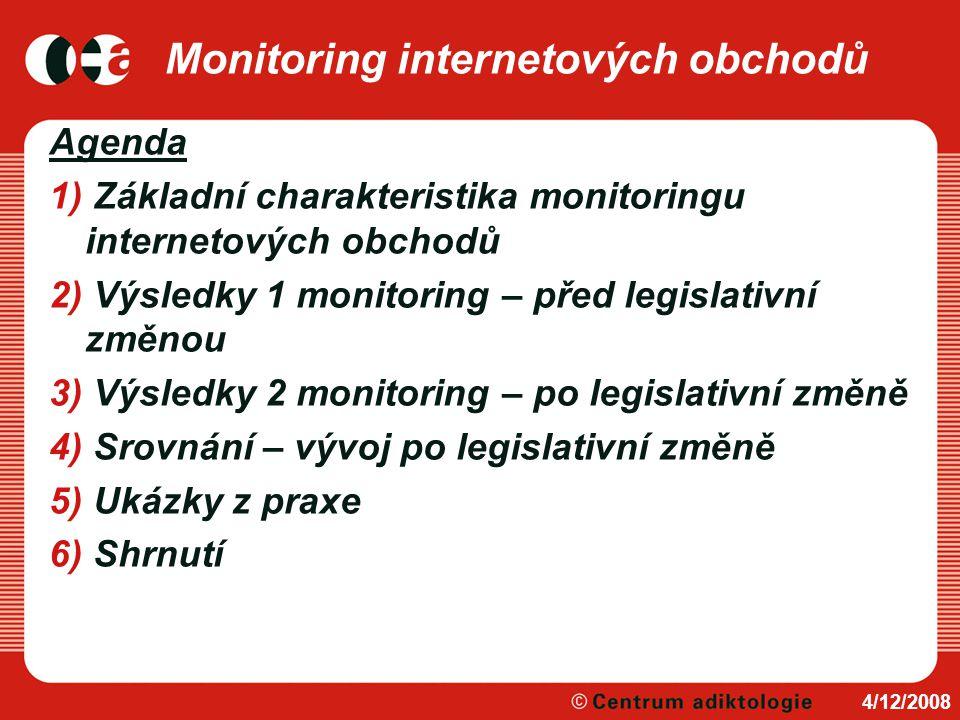 Monitoring internetových obchodů Agenda 1) Základní charakteristika monitoringu internetových obchodů 2) Výsledky 1 monitoring – před legislativní změ