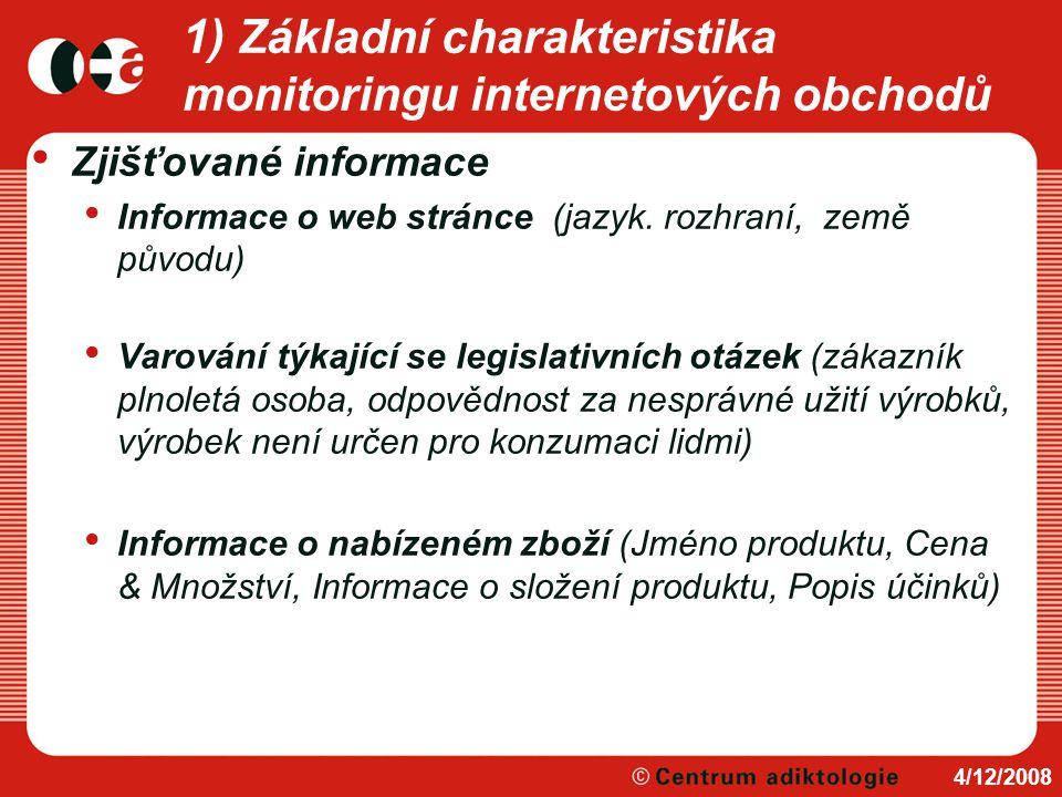 1) Základní charakteristika monitoringu internetových obchodů Zjišťované informace Informace o web stránce (jazyk. rozhraní, země původu) Varování týk