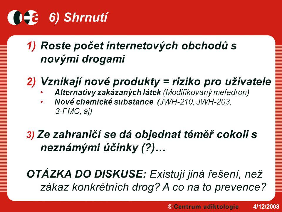 6) Shrnutí 4/12/2008 1)Roste počet internetových obchodů s novými drogami 2)Vznikají nové produkty = riziko pro uživatele Alternativy zakázaných látek