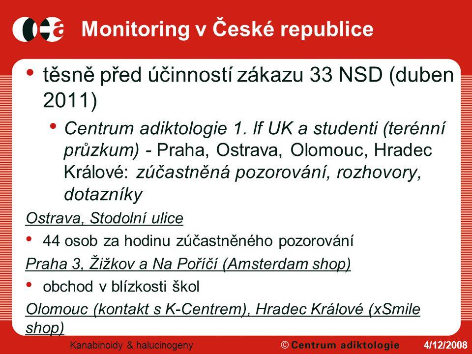Monitoring v České republice těsně před účinností zákazu 33 NSD (duben 2011) Centrum adiktologie 1. lf UK a studenti (terénní průzkum) - Praha, Ostrav