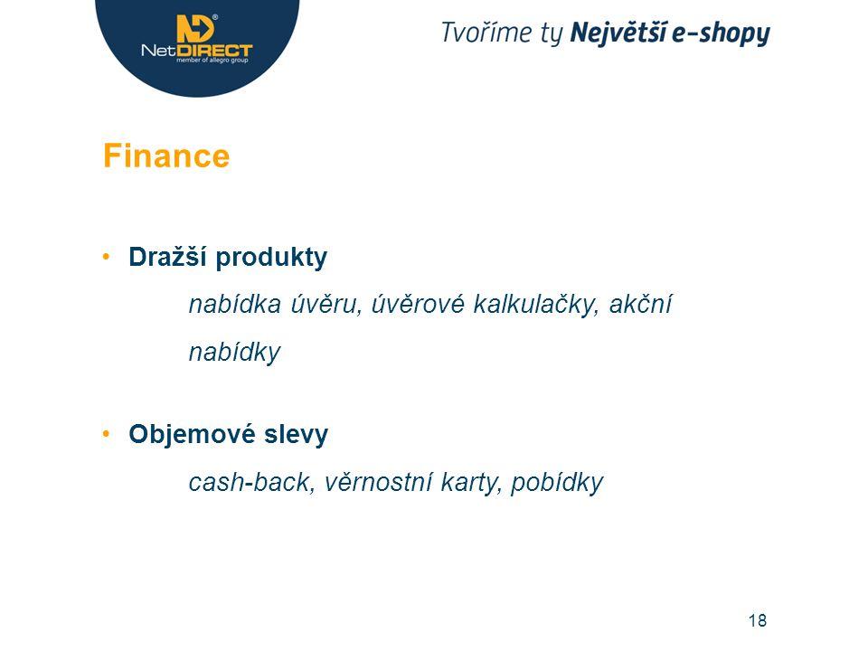 Dražší produkty nabídka úvěru, úvěrové kalkulačky, akční nabídky Objemové slevy cash-back, věrnostní karty, pobídky Finance 18