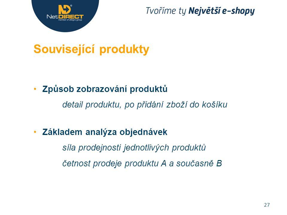 Způsob zobrazování produktů detail produktu, po přidání zboží do košíku Základem analýza objednávek síla prodejnosti jednotlivých produktů četnost prodeje produktu A a současně B Související produkty 27