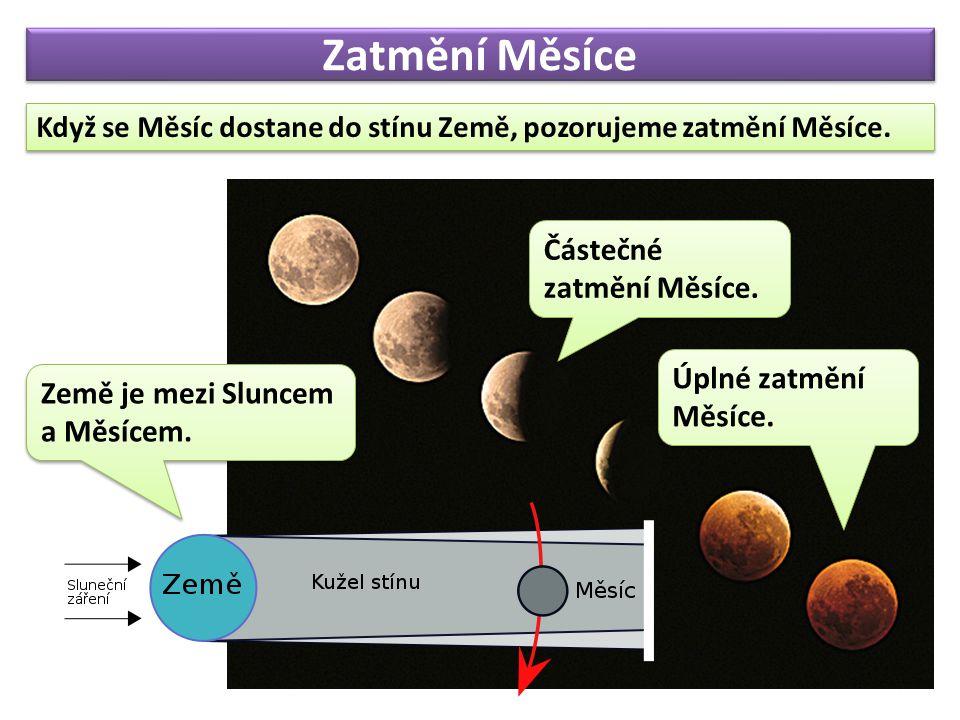 Zatmění Měsíce Když se Měsíc dostane do stínu Země, pozorujeme zatmění Měsíce.