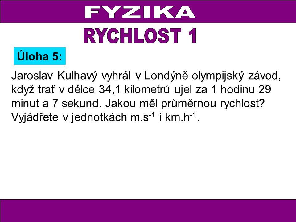 Jaroslav Kulhavý vyhrál v Londýně olympijský závod, když trať v délce 34,1 kilometrů ujel za 1 hodinu 29 minut a 7 sekund. Jakou měl průměrnou rychlos