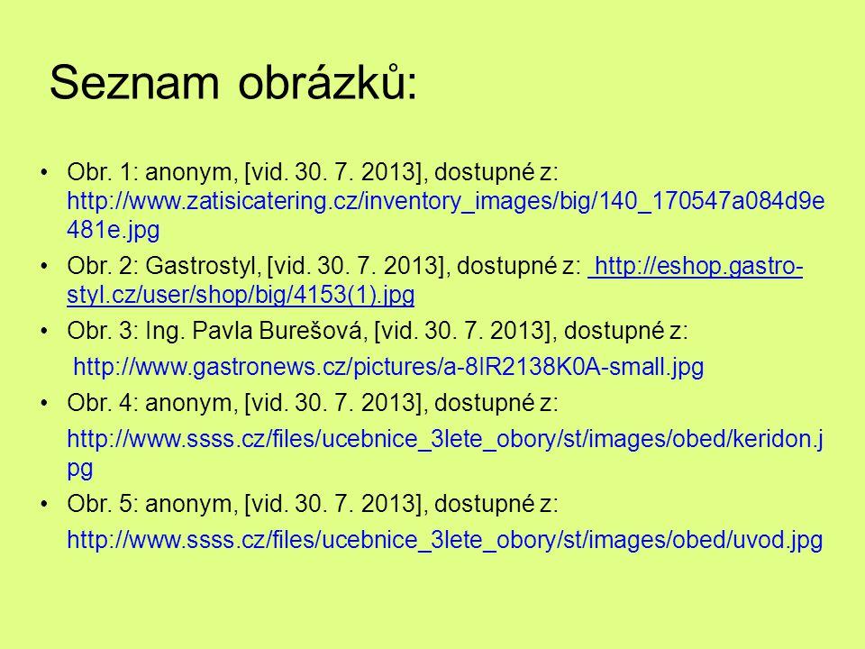 Seznam obrázků: Obr. 1: anonym, [vid. 30. 7. 2013], dostupné z: http://www.zatisicatering.cz/inventory_images/big/140_170547a084d9e 481e.jpg Obr. 2: G
