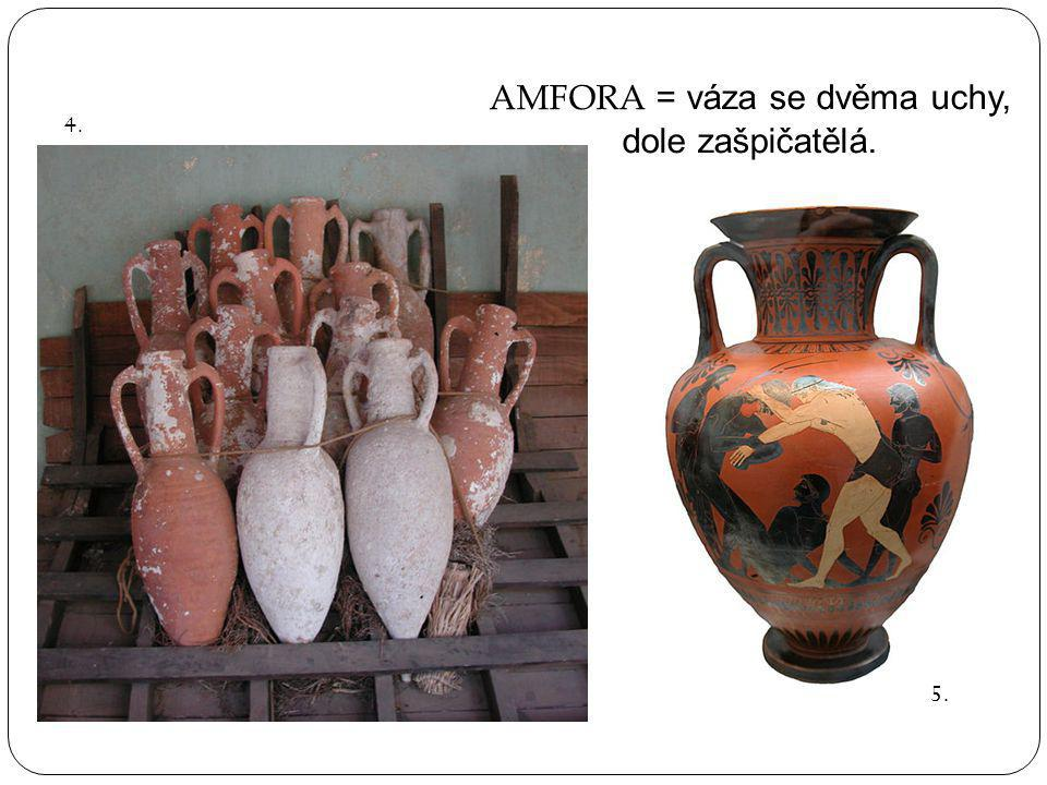 AMFORA = váza se dvěma uchy, dole zašpičatělá. 4. 5.