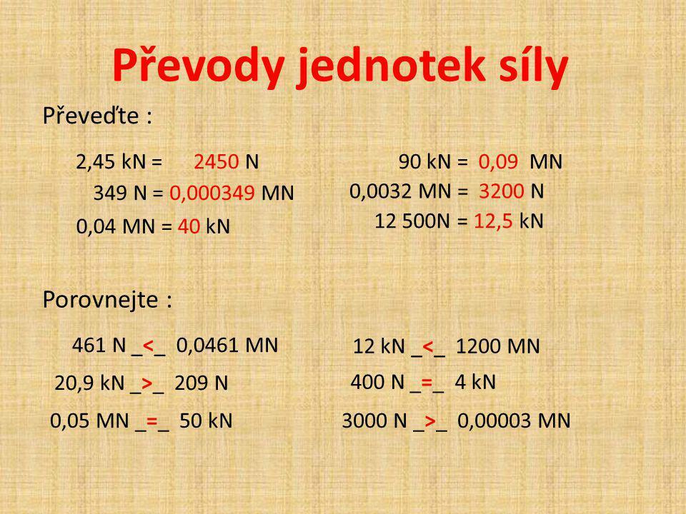Převody jednotek síly 2,45 kN = 2450 N 0,0032 MN = 3200 N 349 N = 0,000349 MN 12 500N = 12,5 kN 0,04 MN = 40 kN 90 kN = 0,09 MN Převeďte : Porovnejte